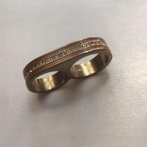 Jewelry - Gold Tone Finger Rhinestone Ring